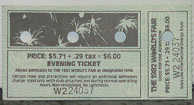 Unused Evening Ticket to the 1982 Knoxville World's Fair