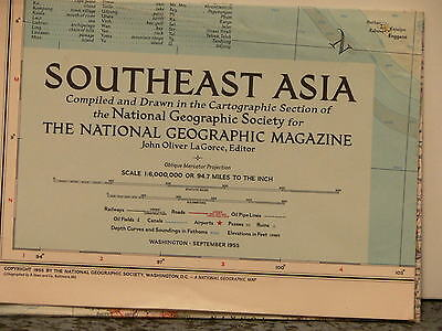 Vintage Cold War Era 1955 National Geographic Map of Southeast Asia