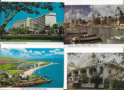 4 vintage postcards various locations throughout Maui Hawaii; UNUSED