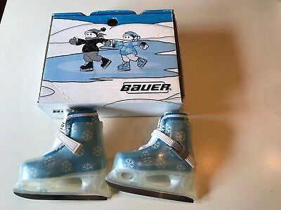 Kids Toddler Bauer Ice Skates L'il Angel Snow Flakes Size 8/9