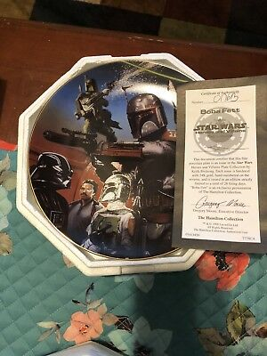 hamilton collection star wars plates Boba fett
