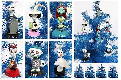 The Nightmare Before Christmas Ornaments 6 Bobble Head Ornaments Jack, Sally NEW
