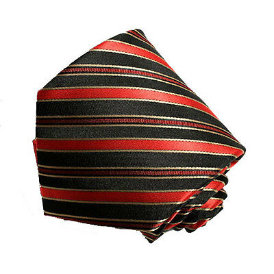 Men's red , black and gold striped   tie