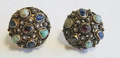 Antique Chinese Sterling Silver Blue Green Red Stone Round Earrings