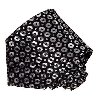 men's silve  polka dot on  black woven tie