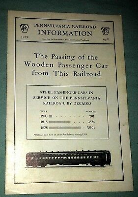 VTG 1928 Pennsylvania Railroad The Passing of Wooden Passenger Car Booklet Nice!