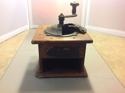 Vintage Hand Crank Coffee Grinder Wooden And Metal Crank