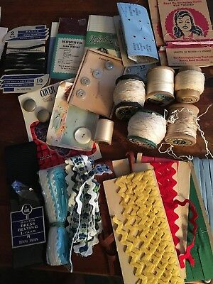 Vintage Sewing Notions Lot Thread Bias Tape Ricrac Snaps Buttons