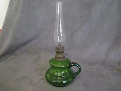 Antique Miniature Finger Hold Oil Lamp with Green Glass Font  - ks7