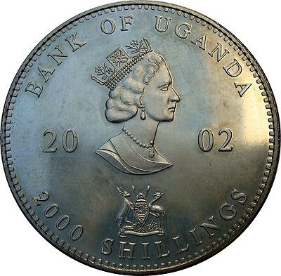 2002 Uganda 2000 Shillings Silver Coin - Low Mintage only 1500 Coins KM: 100