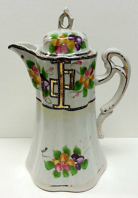 Antique Nippon Porcelain Chocolate Pot, Hand Painted Floral Tea Coffee