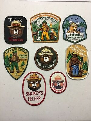 Lot Of 8 Vintage Smokey The Bear Patches