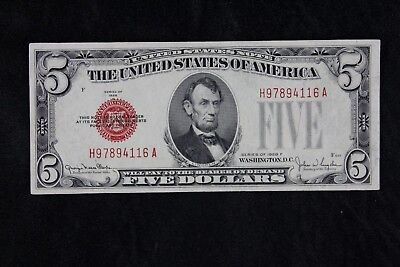 $5 1928F large red seal US Note H97894116A five dollar, series F, FREE SHIPPING