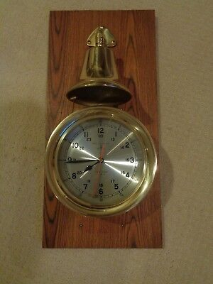 Vintage Bell Clock Company Ship's Quartz Clock Brass with Bell on Plaque