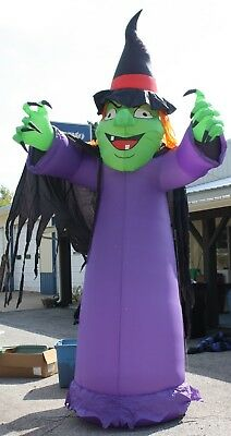 12' Tall Airblown Halloween Inflatable Lighted Witch