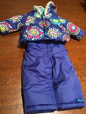 94bd05786 Carters Infant Girls 2 Pc Snow Bibs & Winter Coat Set Purple Floral Snowsuit  12m
