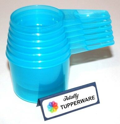 Tupperware Measuring Cups Set of 6 Blue Classic-Style Spoons Baking Cooking