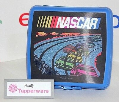 Tupperware Nascar Sandwich Keeper Lunch Box Blue Hologram Race Cars Racetrack