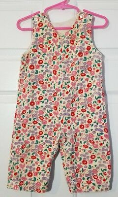 Vintage Girl's Thomas Floral Corduroy Overalls Size 18M