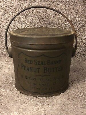 ANTIQUE RED SEAL BRAND PEANUT BUTTER TIN 1 lb - Newton Tea Spice - OHIO