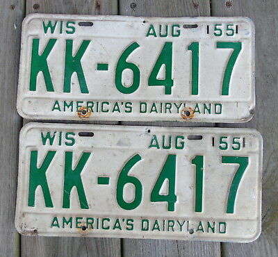 1955 Wisconsin License Plate Set KK-6417  matching pair Vintage License Plates