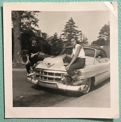 """1953 Cadillac Coupe Deville 3.5""""x3.5"""" Black & White Photo With 2 Girls On Hood"""