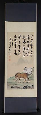 "CHINESE HANGING SCROLL ART Painting ""Horses""  #E4341"