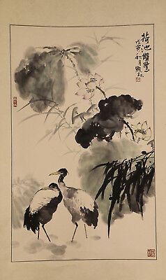 "CHINESE HANGING SCROLL ART Painting ""Crane""  #E4337"