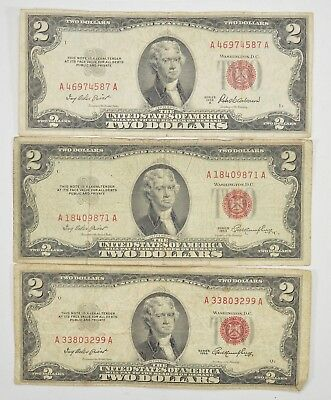 Lot (3) Red Seal $2.00 US 1953 or 1963 Notes - Currency Collection *297