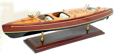 "Vintage Chris Craft Hand Built Runabout 24"" Boat Model Wood With Mahogany Base"