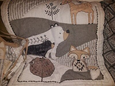 4799b0f69 Levtex Baby Bailey Charcoal and White Woodland Themed 5 Piece