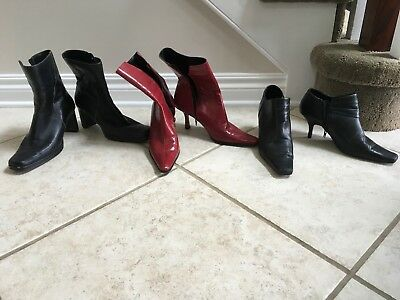 Lot  Of 3 Womens Boots, Black And Red Sz 8, Nine West, Bandolino, Anne Klein