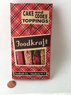 Vintage Foodkraft Cake and Cookie Toppings. Plaid box. Original sprinkles!