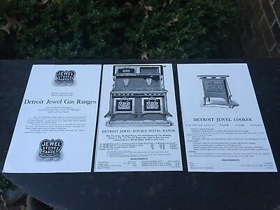 1871 Detroit Stoves & Jewel Ranges Gas Works Hotel Single Oven Cookers Very Nice