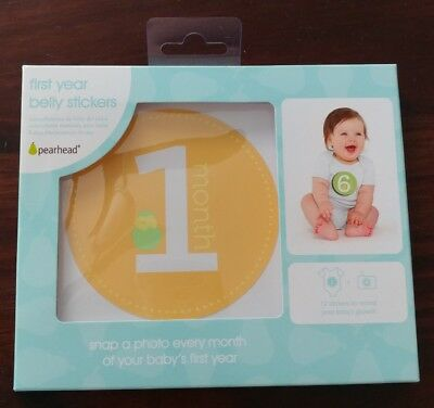 Pearhead First Year Monthly Baby Photo Sharing Baby Belly Stickers, 1-12 Months