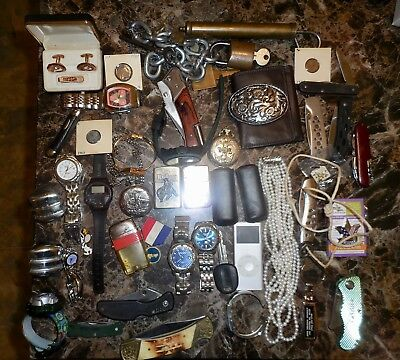 JUNK DRAWER Mixed lot Knives Lighters Coins Keys Trinkets Jewelry NR Free Ship