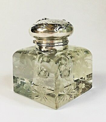 Beautiful Large MAUSER Repousse Sterling Silver Engraved Etched Crystal Inkwell