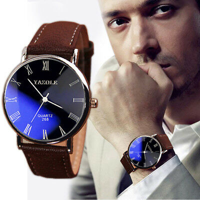 YAZOLE Luxury Men's Watch Stainless Steel Brown Leather Strap Black Dial