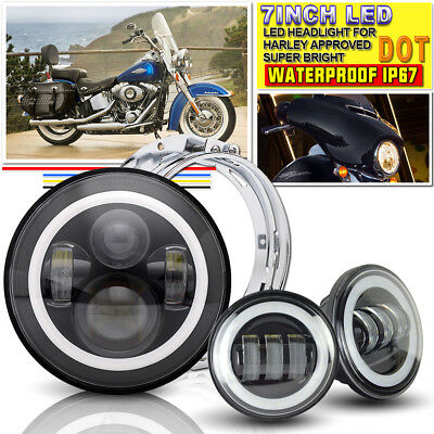 "DOT 7"" LED Headlight + 4.5"" Fog Light + Bracket Ring for Harley Davidson"