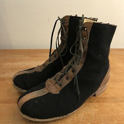 Wool & Roughout Leather Winter Mens 8 Vintage 30s Cold Weather Snow Work Boots