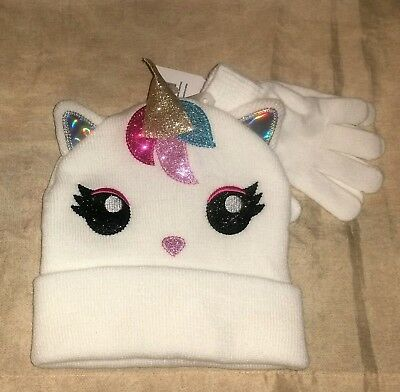 Nwt Magical Unicorn Knit Hat Beanie & Glove Set Gold Sparkling Accents One Size
