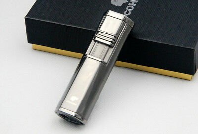 Cohiba Portable Silver Windproof 2 Torch Jet Flame Cigar lighter W/ Punch COHIBA