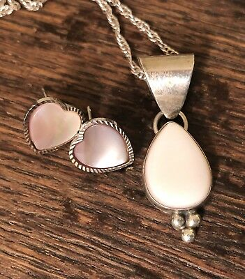 """Pink Mother Of Pearl 925 Sterling Silver Necklace And Heart Stud Earrings 18"""""""
