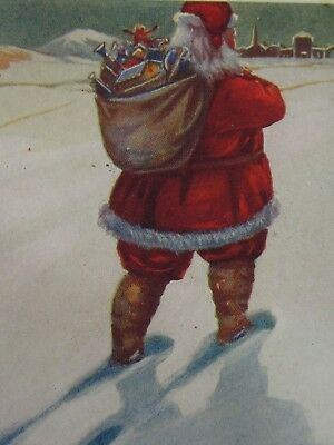 Antique Santa Claus Christmas Postcard St Nicholas Red Suit Bag of Toys c. 1915