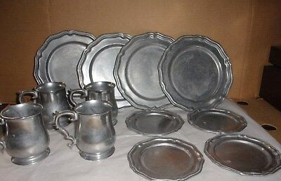 Crown Castle Pewter Set of Dishes Plates, Sauces, Cups