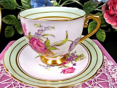 STANLEY tea cup and saucer floral rose tulip pattern teacup pale green bands