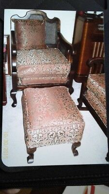 Late 19Th/early 20Th Century Carved Queen Anne Arm Chairs And Ottoman