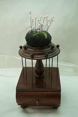 ANTIQUE PIN CUSHION SEWING BOX THREAD STAND HOLDER PINCUSHION WOOD DRAWER 8in