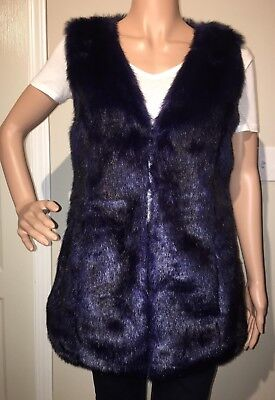 betsey johnson faux fur vest osfa small medium large 4 6 8 vintage top violet