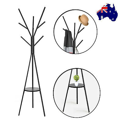 Coat Hanger Stand Rack Clothes Metal Hat Jacket Bag Umbrella Scarf Holder Black